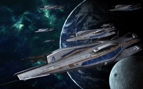 Картинка космос, земля, луна, mass effect 3, альянс, боевые корабли