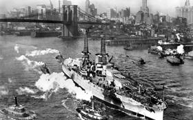 Обои фотография, Нью-Йорк, чёрно-белая, Бруклинский мост, американский, сопровождение, буксиры