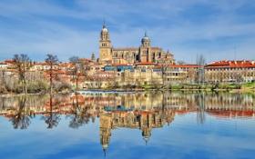 Обои пейзаж, река, дома, собор, Испания, Саламанка, Тормес