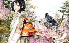 Обои цветы, настроение, птица, весна, аниме, сакура, девочка