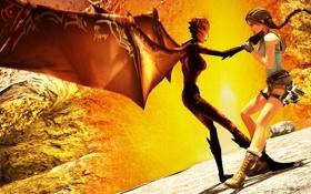 Обои бой, Lara Croft, Jacqueline Natla, Tomb Raider: Anniversary