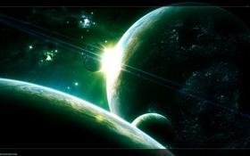 Обои зеленые, планеты, восход
