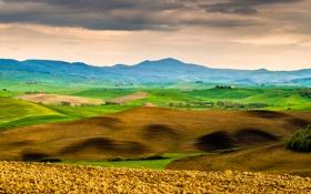 Обои трава, деревья, горы, дом, холмы, Италия, Тоскана