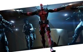 Обои оружие, пистолеты, игра, костюм, выстрелы, Deadpool, Marvel Comics