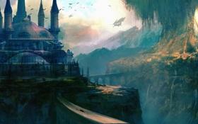 Картинка птицы, мост, город, замок, дерево, корабль, арт