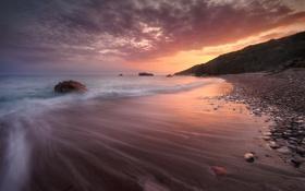 Обои закат, камни, океан, скалы, побережье