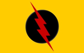 Обои logo, yellow, comics, Reverse Flash