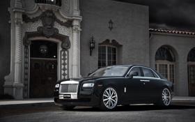 Обои чёрный, здание, окна, Rolls-Royce, дверь, Ghost, black