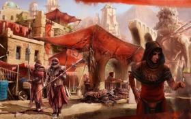 Обои Harad, The Umbar Market, девушка, слон, рынок, товар, Middle-earth
