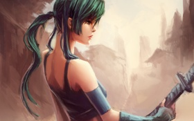 Картинка девушка, меч, арт, профиль, Himiko