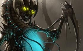 Обои магия, крылья, монстр, арт, пасть, клыки, брюхо