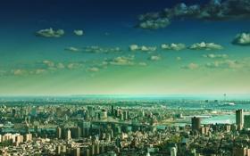 Картинка небо, облака, мост, река, дома, Нью-Йорк, горизонт
