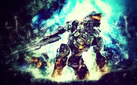 Обои wallpaper, halo, video game, master chief