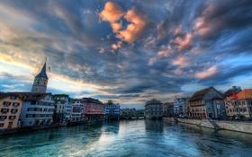 Обои небо, облака, мост, река, часы, башня, дома
