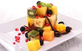 Обои ягоды, апельсин, киви, фрукты, манго, банан, ежевика