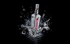 Картинка брызги, фон, кубики, vodka.Luksusowa.бутылка, Водка