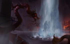 Картинка дракон, столб, арт, пещера, цепи, червь