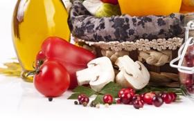 Обои огурец, грибы, корзина, брусника, помидор, ягоды, баночка