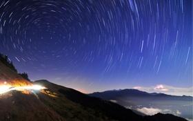 Картинка линии, круги, ночь, огни, звездное небо