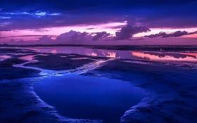 Обои песок, пляж, пейзаж, океан, рассвет