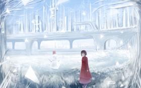 Картинка зима, девушка, деревья, мост, аниме, арт, сооружения