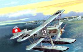 Обои небо, рисунок, корабли, арт, порт, самолёт, немецкий