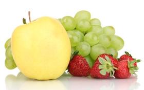 Обои клубника, желтое, фрукт, виноград, яблоко, ягоды