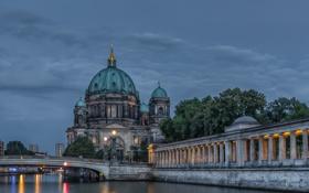 Обои небо, мост, огни, река, вечер, Германия, Берлин