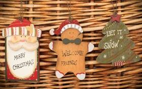 Обои печенька, праздник, новый год, елка, дед мороз, дерево