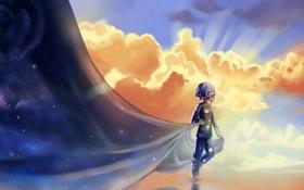 Картинка облака, фантазия, ночь, пижама, день, арт, звёзды