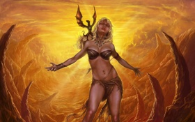 Картинка девушка, лицо, фантастика, дракон, крылья, пирсинг, белые волосы
