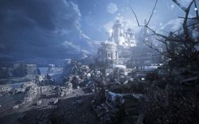 Картинка море, оружие, дождь, скалы, побережье, база, Gears of War