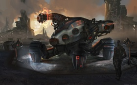 Обои будущее, фантастика, человек, робот, арт, mechanique, by medders