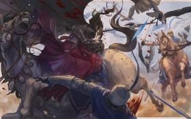 Картинка оружие, кровь, меч, аниме, лошади, арт, битва