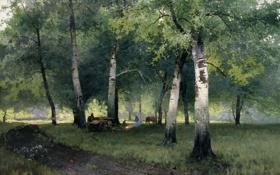Обои картина, Шильдер, Березовый лес