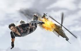 Обои взрыв, огонь, прыжок, падение, вертолет, мужчина, крестик