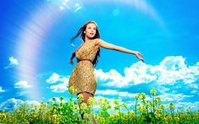 Картинка небо, девушка, облака, природа, радуга, шатенка, полевые цветы