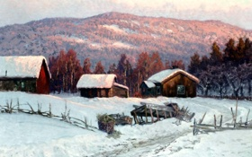 Обои лес, Anshelm Schultzberg, роща, пейзаж, холмы, деревня, зима