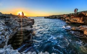 Обои океан, рассвет, скалы, прибой, cala blanca