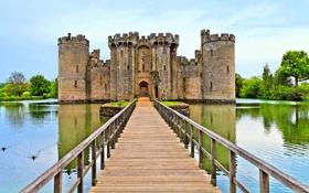 Обои вода, мост, замок, башня, старинный, castle