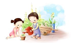 Обои дети, лейка, цветок