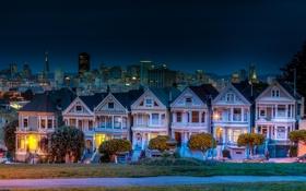 Обои город, дома, вечер, улица