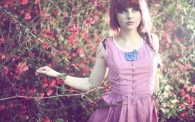 Картинка девушка, цветы, ветки, растения, платье, Loriel Andrea
