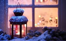 Картинка зима, снег, снежинки, окна, свеча, окно, фонарь