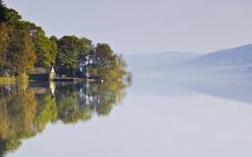 Картинка пейзаж, дом, озеро, туман