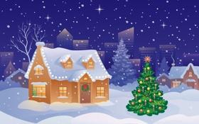Обои зима, шарики, снег, украшения, праздник, Новый Год, Рождество