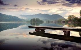 Картинка лес, озеро, отражение, рассвет, холмы
