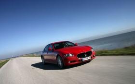 Обои Maserati, Quattroporte, Красный, Дорога, Езда