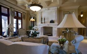 Обои дизайн, камин, подушки, лампа, окно, интерьер, люстра