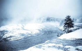 Обои природа, пейзаж, река, снег